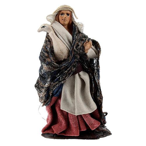 Femme avec oie à bras terre cuite crèche napolitaine 8 cm 1