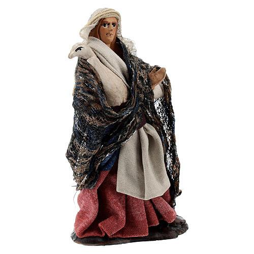 Woman holding goose terracotta, 8 cm Neapolitan nativity 2