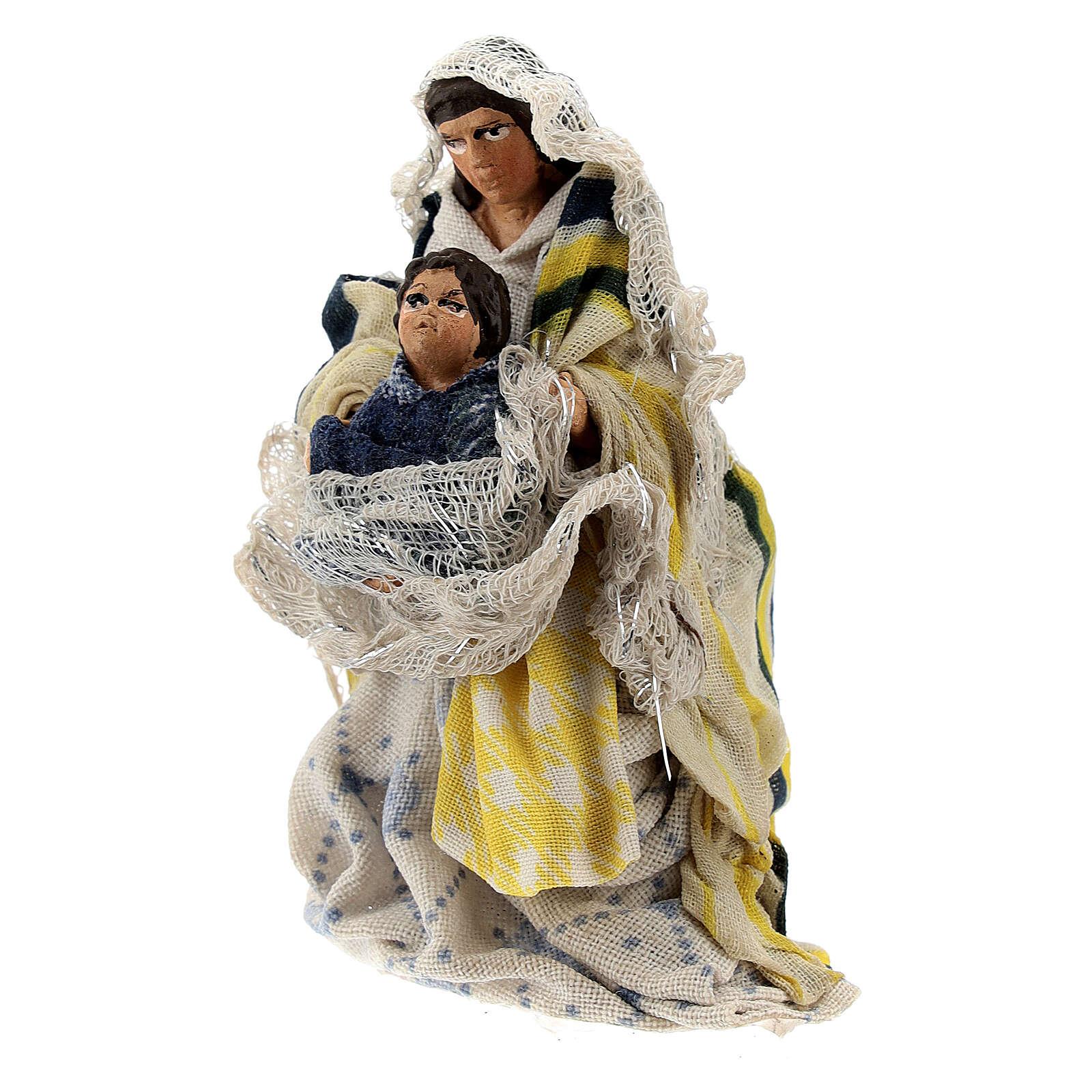 Donna seduta bambino braccio terracotta 8 cm presepe napoletano 4