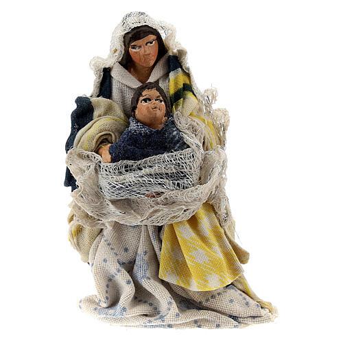 Woman sitting with child terracotta, 8 cm Neapolitan nativity 1