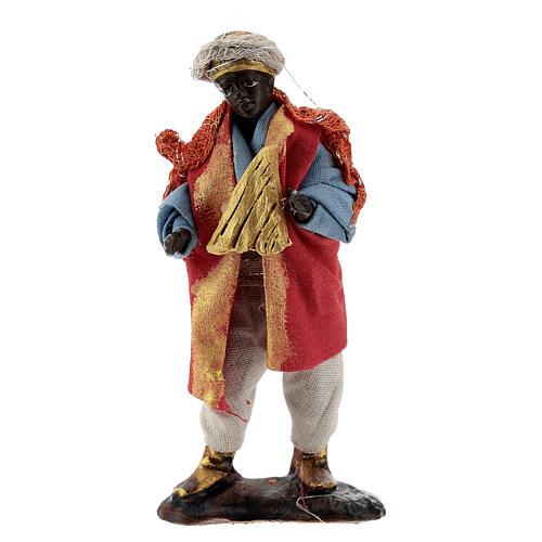 Harp player 8 cm Neapolitan nativity figurine 1