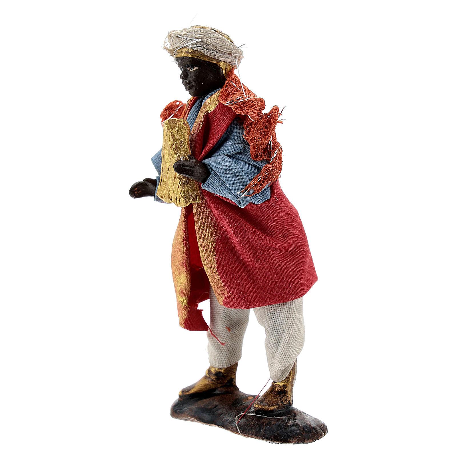 Harp player figure, 8 cm Neapolitan nativity in terracotta cloth 4