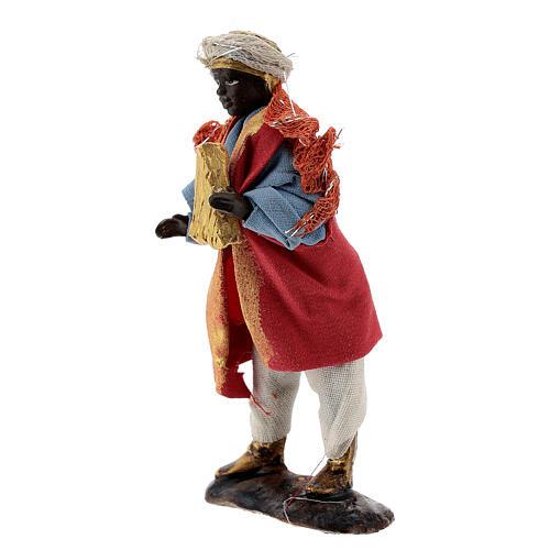 Harp player figure, 8 cm Neapolitan nativity in terracotta cloth 2