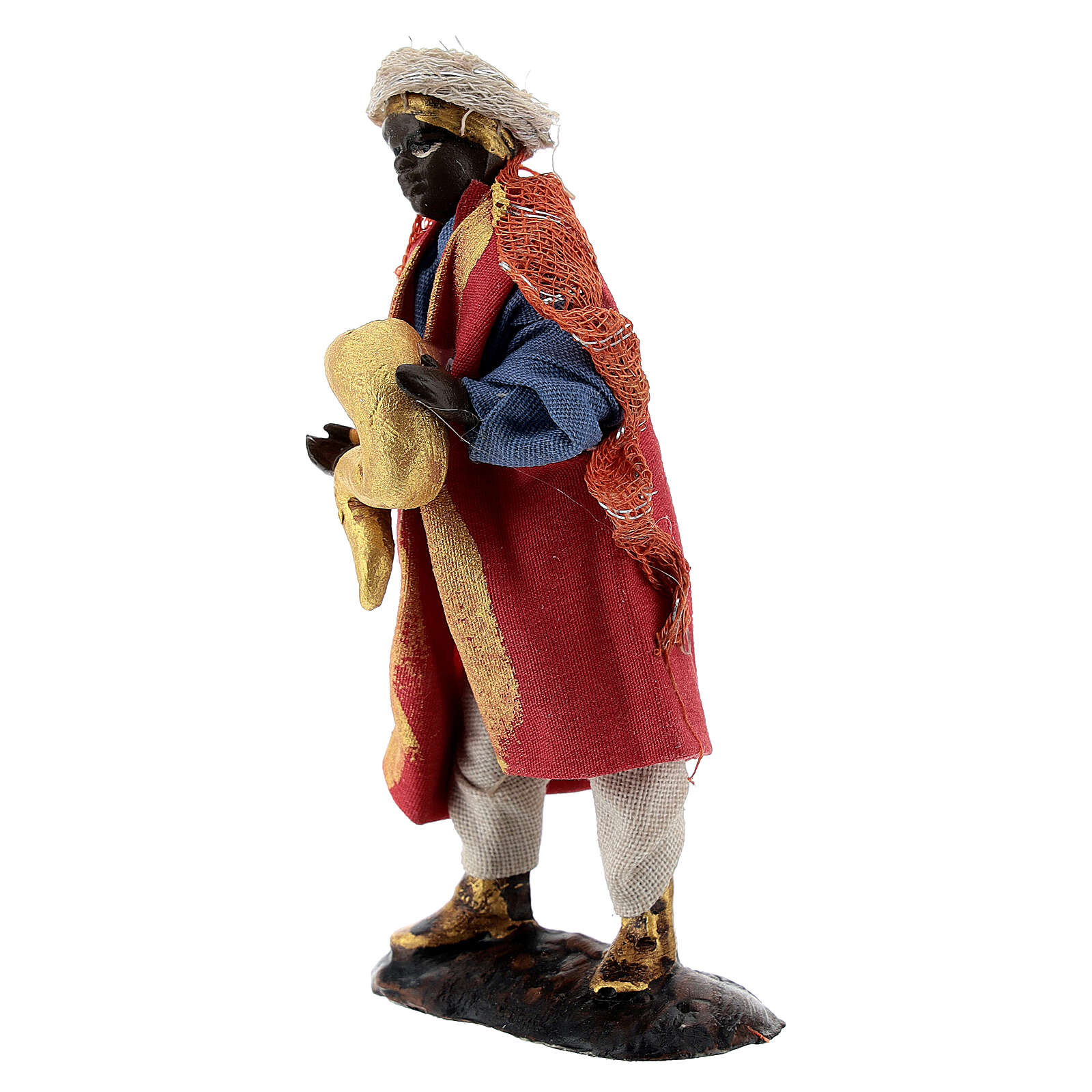 Horn player musician, 8 cm terracotta Neapolitan nativity 4