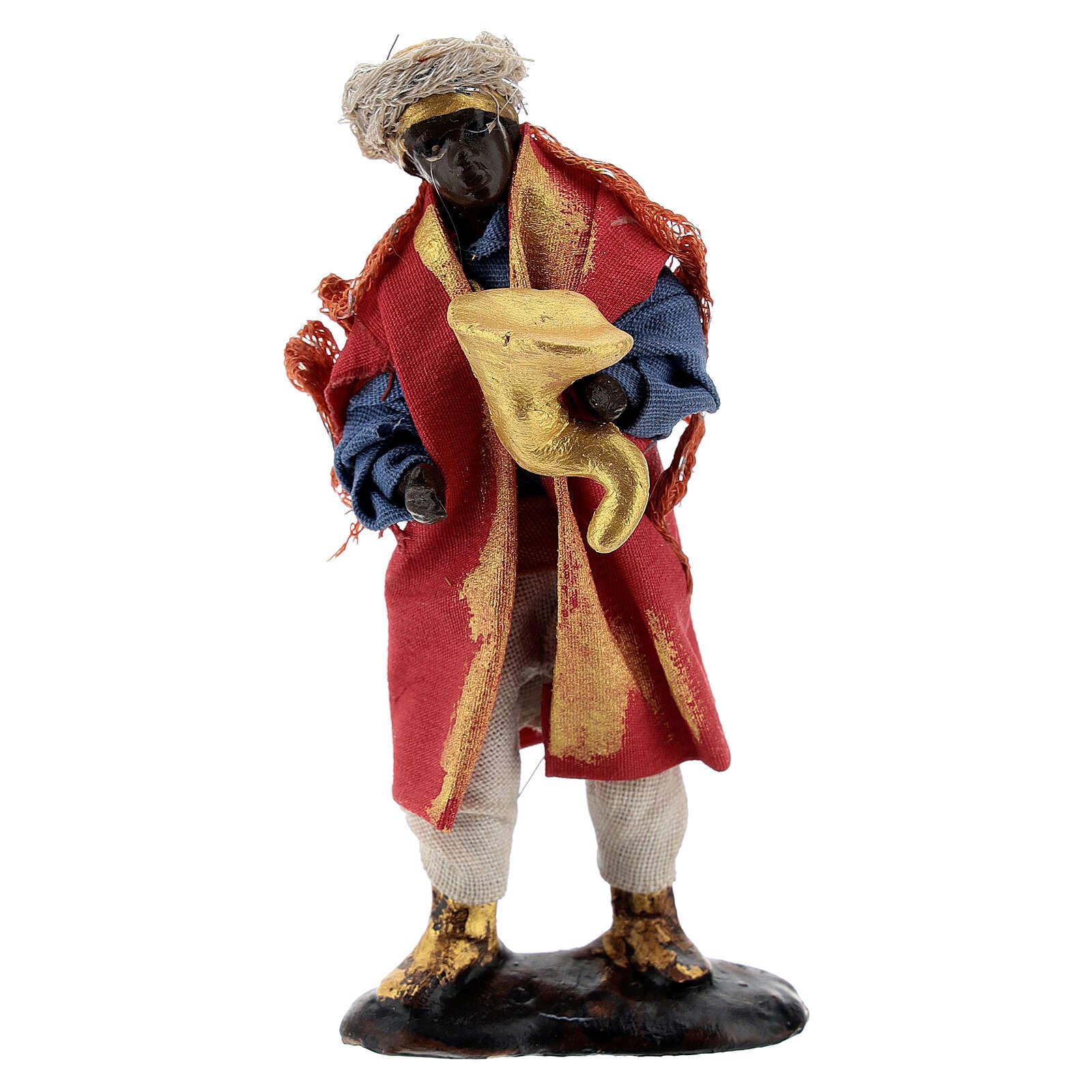 Musician with trumpet 8 cm Neapolitan nativity figurine 4