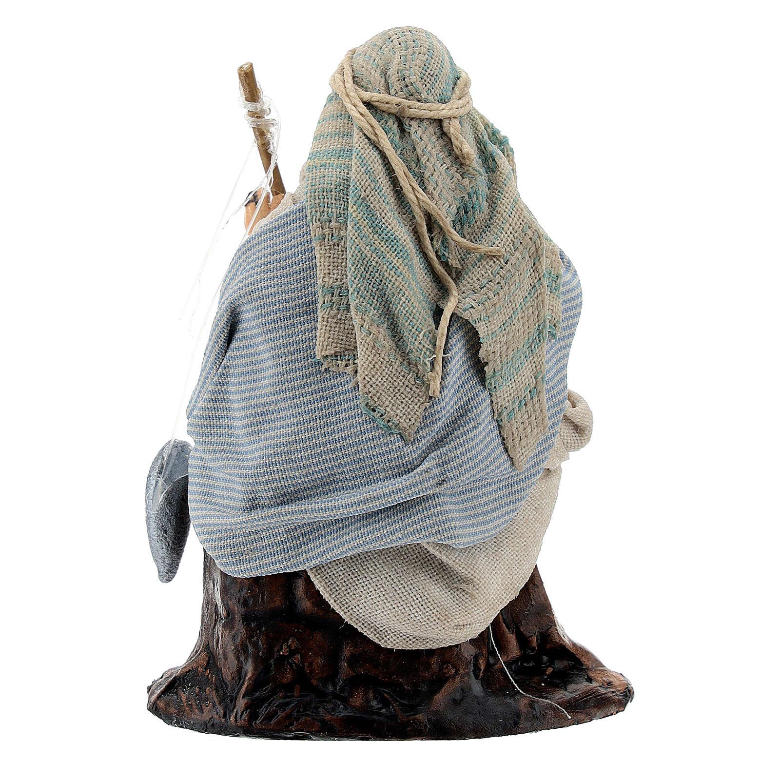 Pescatore arabo canna pesca 8 cm terracotta presepe napoletano 4