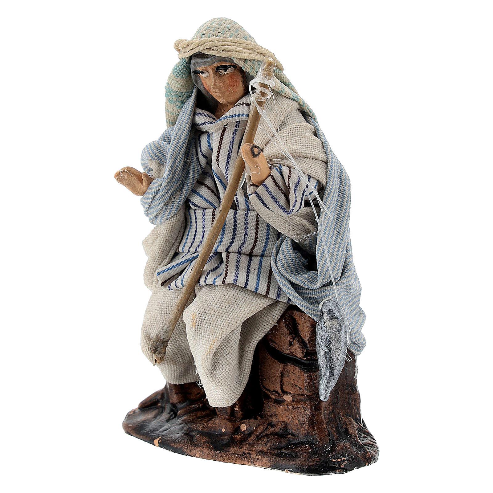 Arab fisherman with rod in terracotta, 8 cm Neapolitan nativity 4