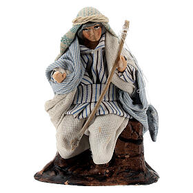 Arab fisherman with rod in terracotta, 8 cm Neapolitan nativity s1