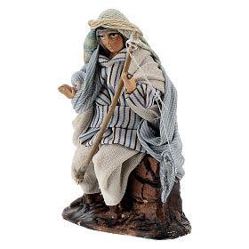 Arab fisherman with rod in terracotta, 8 cm Neapolitan nativity s2