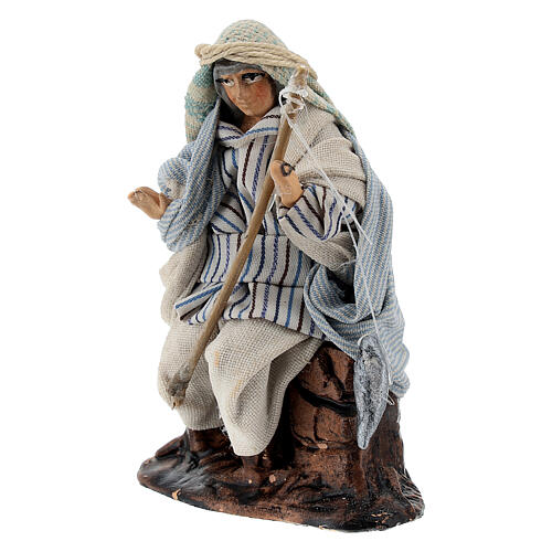 Arab fisherman with rod in terracotta, 8 cm Neapolitan nativity 2