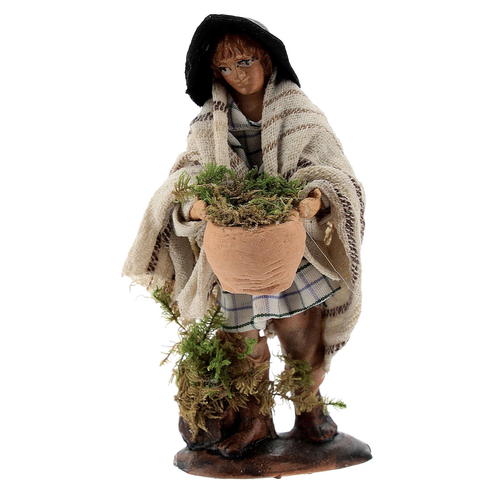 Shepherd with moss basket 8 cm Neapolitan nativity figurine 4