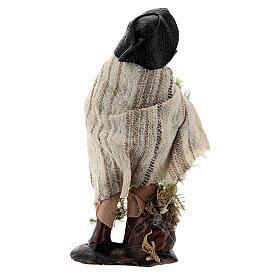 Shepherd with moss basket 8 cm Neapolitan nativity figurine s3