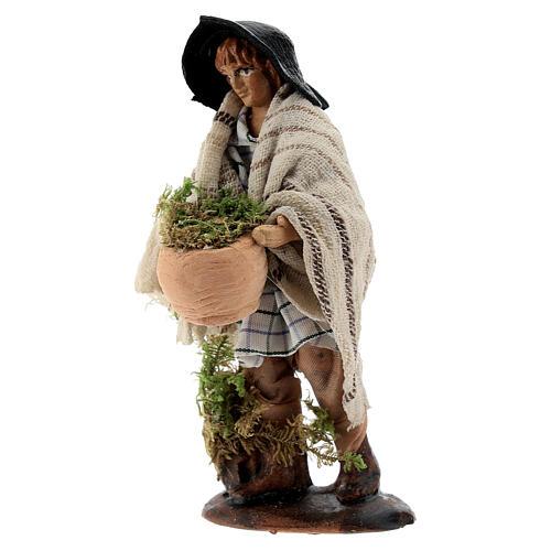 Shepherd with moss basket 8 cm Neapolitan nativity figurine 2