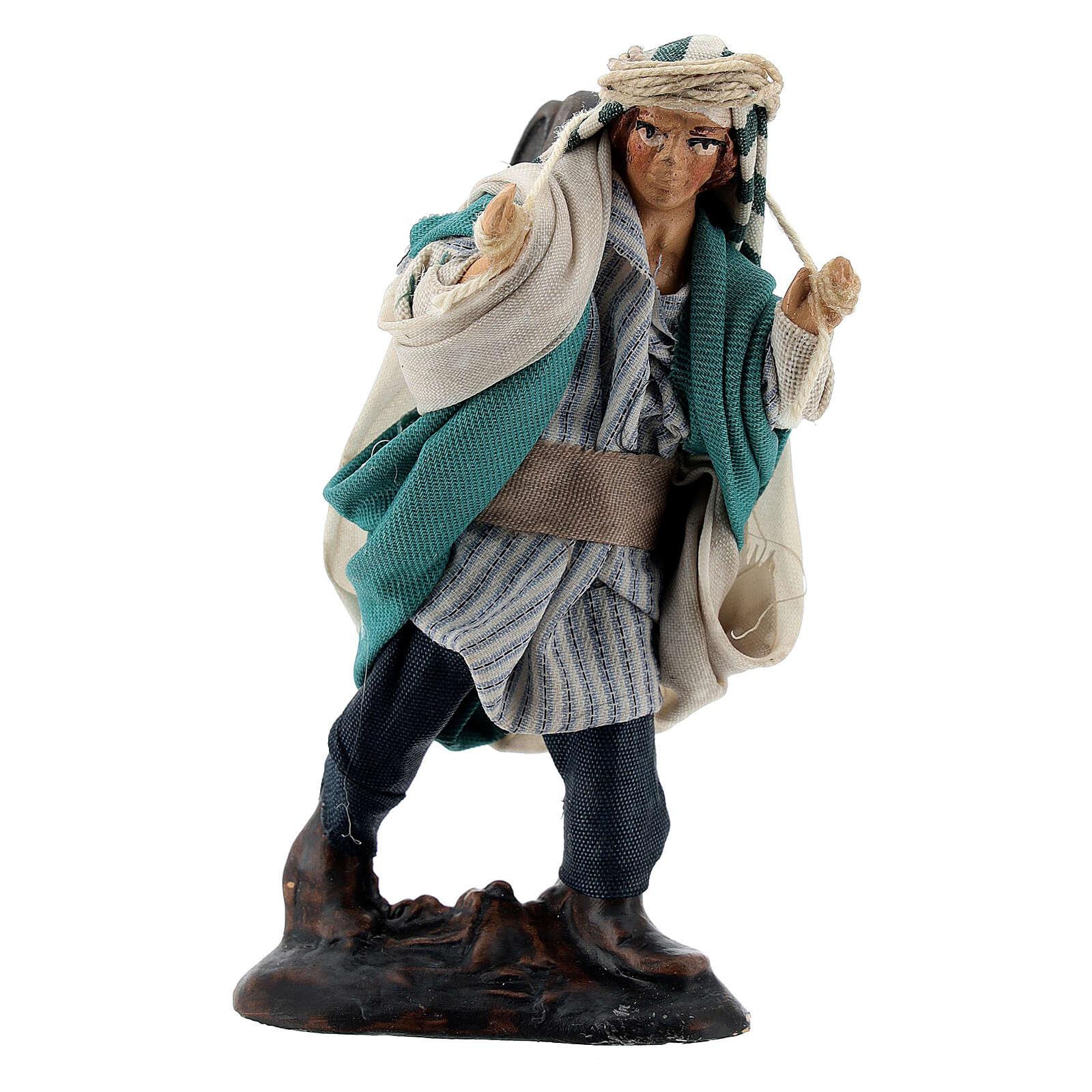 Pastor barriles en los hombros terracota belén napolitano 8 cm 4