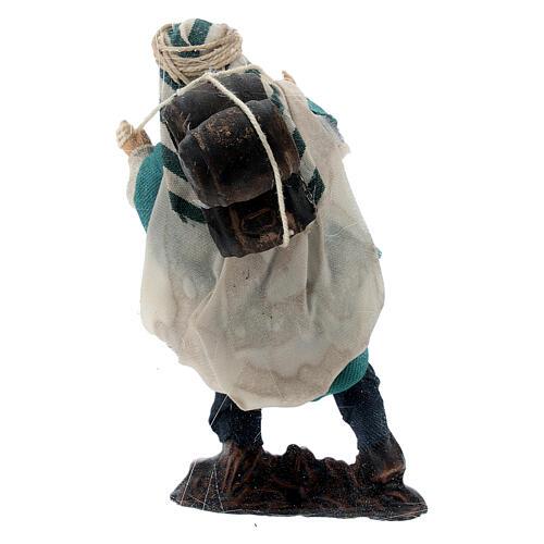 Berger avec tonneaux sur les épaules terre cuite crèche napolitaine 8 cm 3