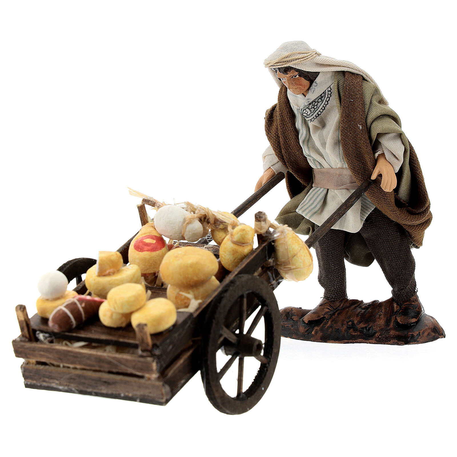 Merchant with salami cheese cart, 12 cm Neapolitan nativity figurine 4
