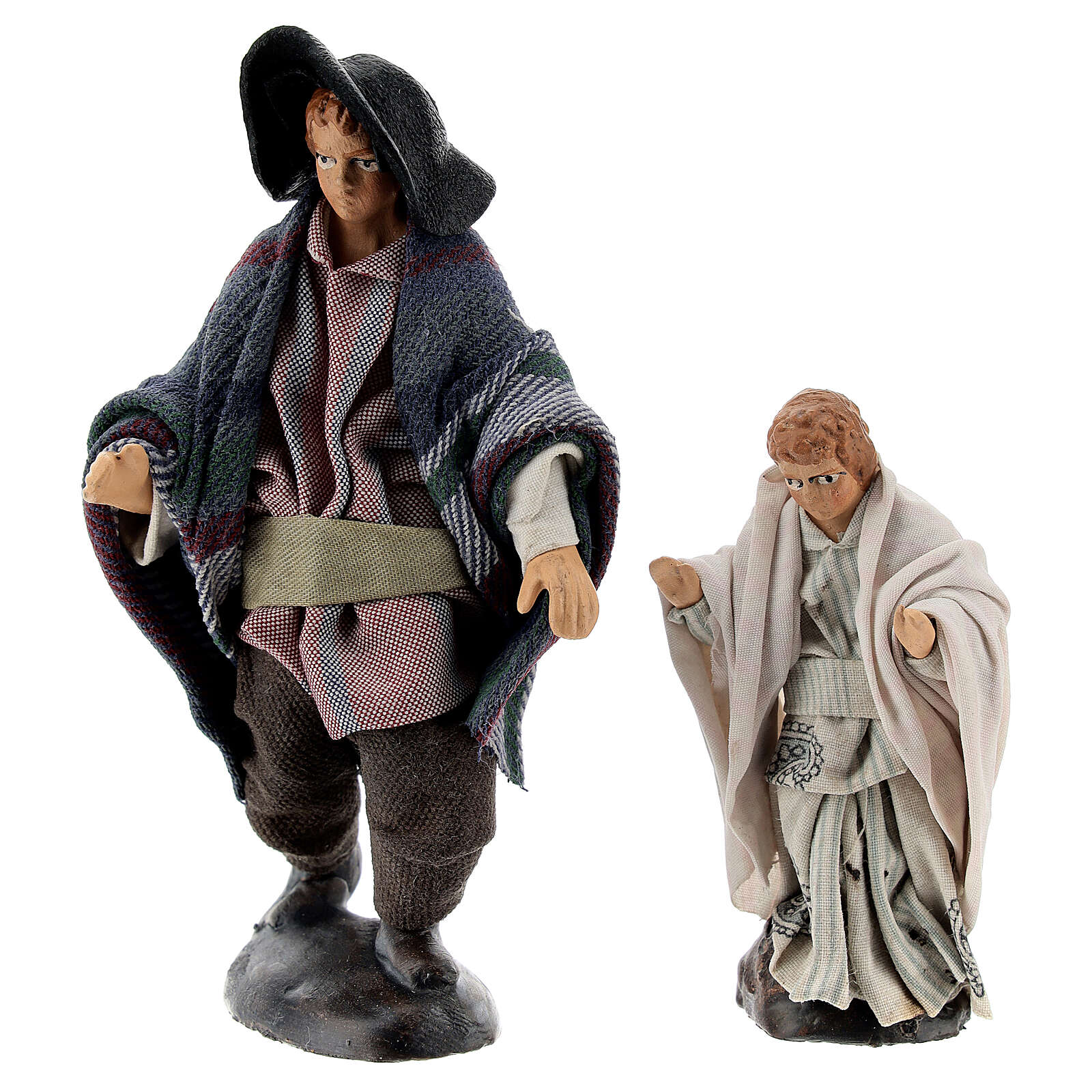 Man with child 12 cm Neapolitan nativity figurine 4