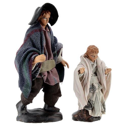 Uomo con bambino 12 cm presepe napoletano terracotta 5