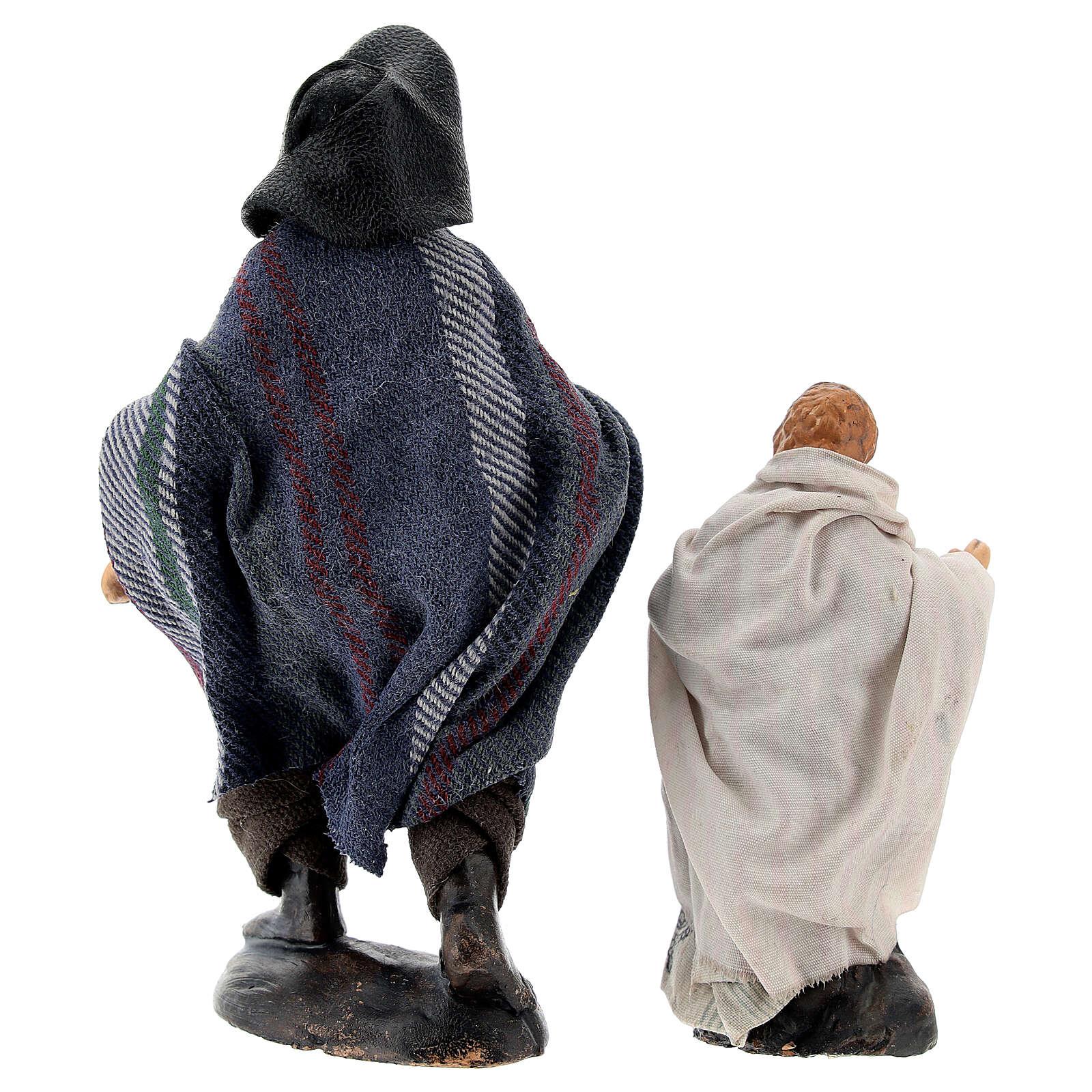 Man with child in terracotta, 12 cm Neapolitan nativity 4