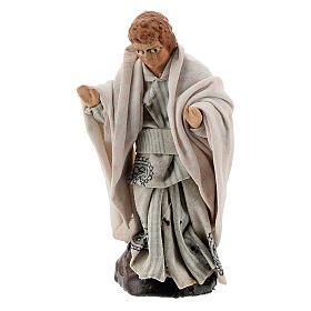 Man with child in terracotta, 12 cm Neapolitan nativity s3