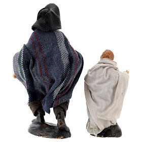 Man with child in terracotta, 12 cm Neapolitan nativity s6