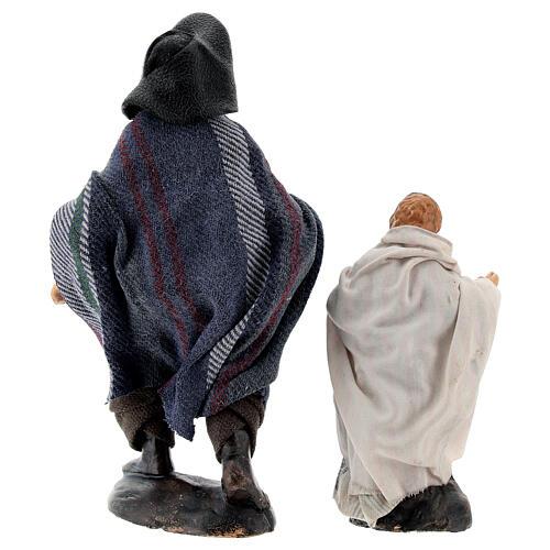 Man with child in terracotta, 12 cm Neapolitan nativity 6