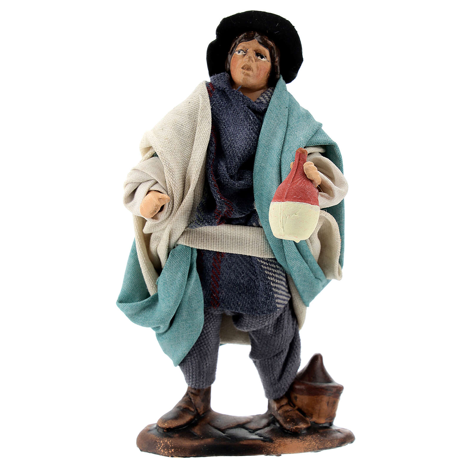 Drunkard standing in terracotta, 12 cm Neapolitan nativity 4