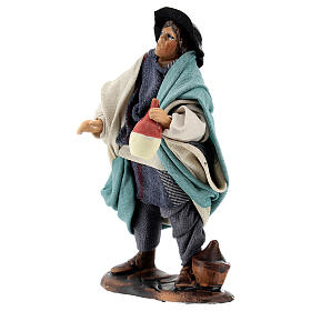 Drunkard standing in terracotta, 12 cm Neapolitan nativity s2