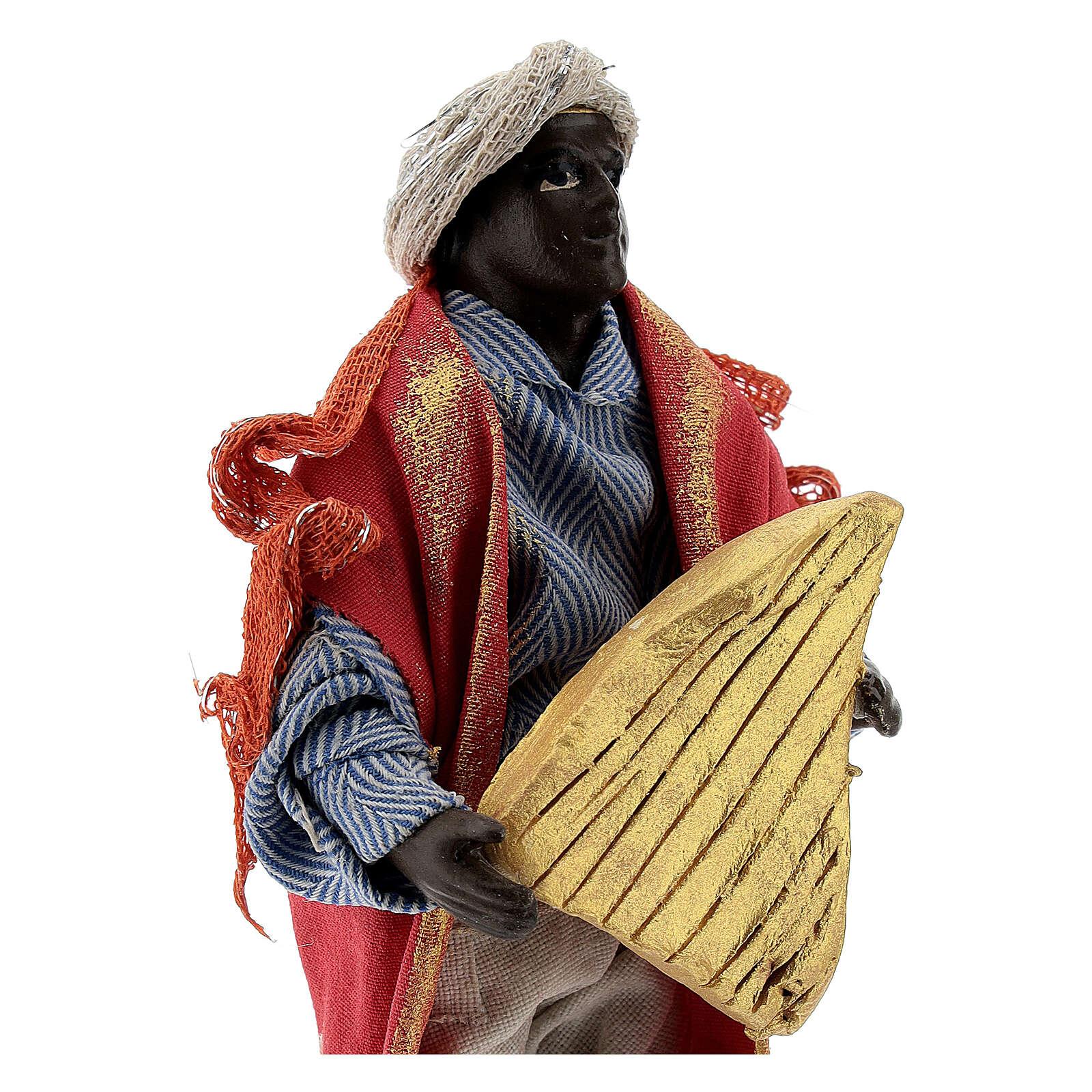 Suonatore arpa presepe napoletano 12 cm statua terracotta 4