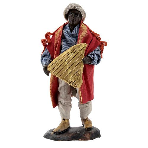 Suonatore arpa presepe napoletano 12 cm statua terracotta 1
