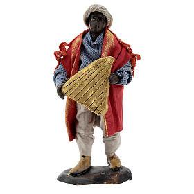 Harp player in terracotta, 12 cm Neapolitan nativity s1