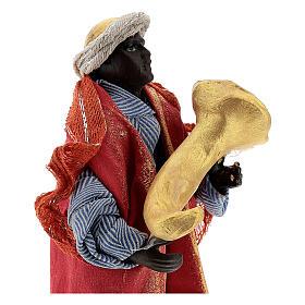 Suonatore tromba statua terracotta 12 cm presepe napoletano s2