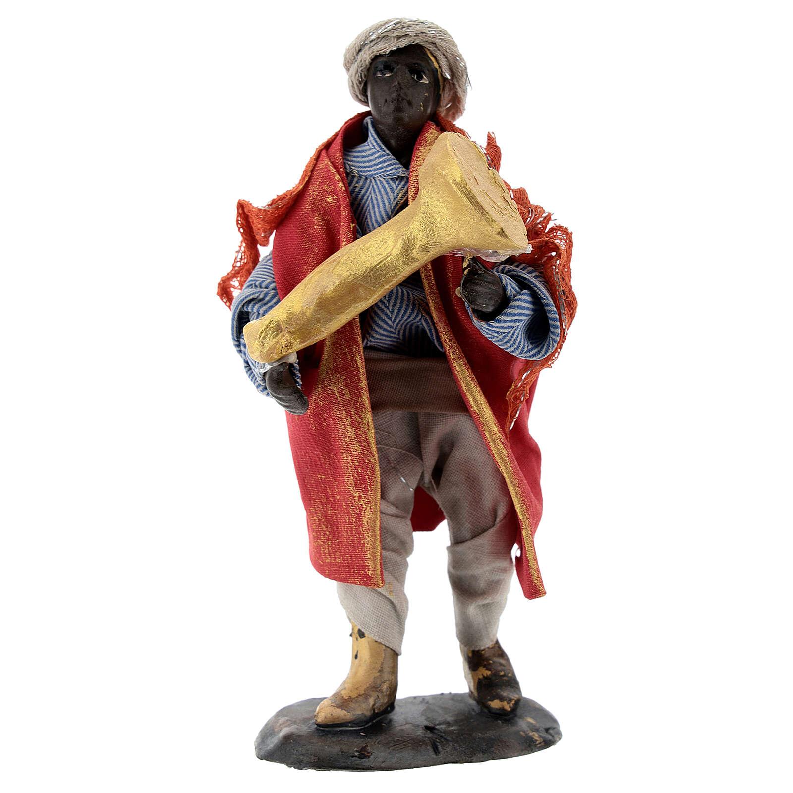 Trumpet player in terracotta, 12 cm Neapolitan nativity 4
