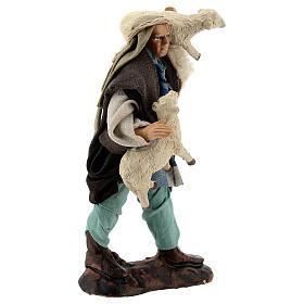 Pastor ovejas en brazos 12 cm terracota belén napolitano s4