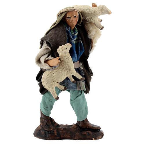 Pastor ovejas en brazos 12 cm terracota belén napolitano 1