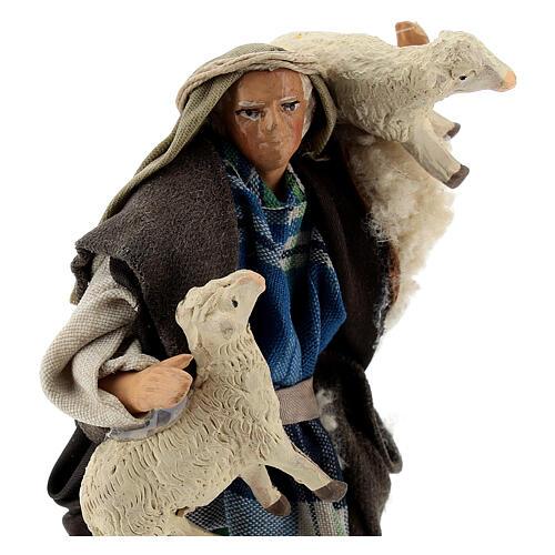 Pastor ovejas en brazos 12 cm terracota belén napolitano 2