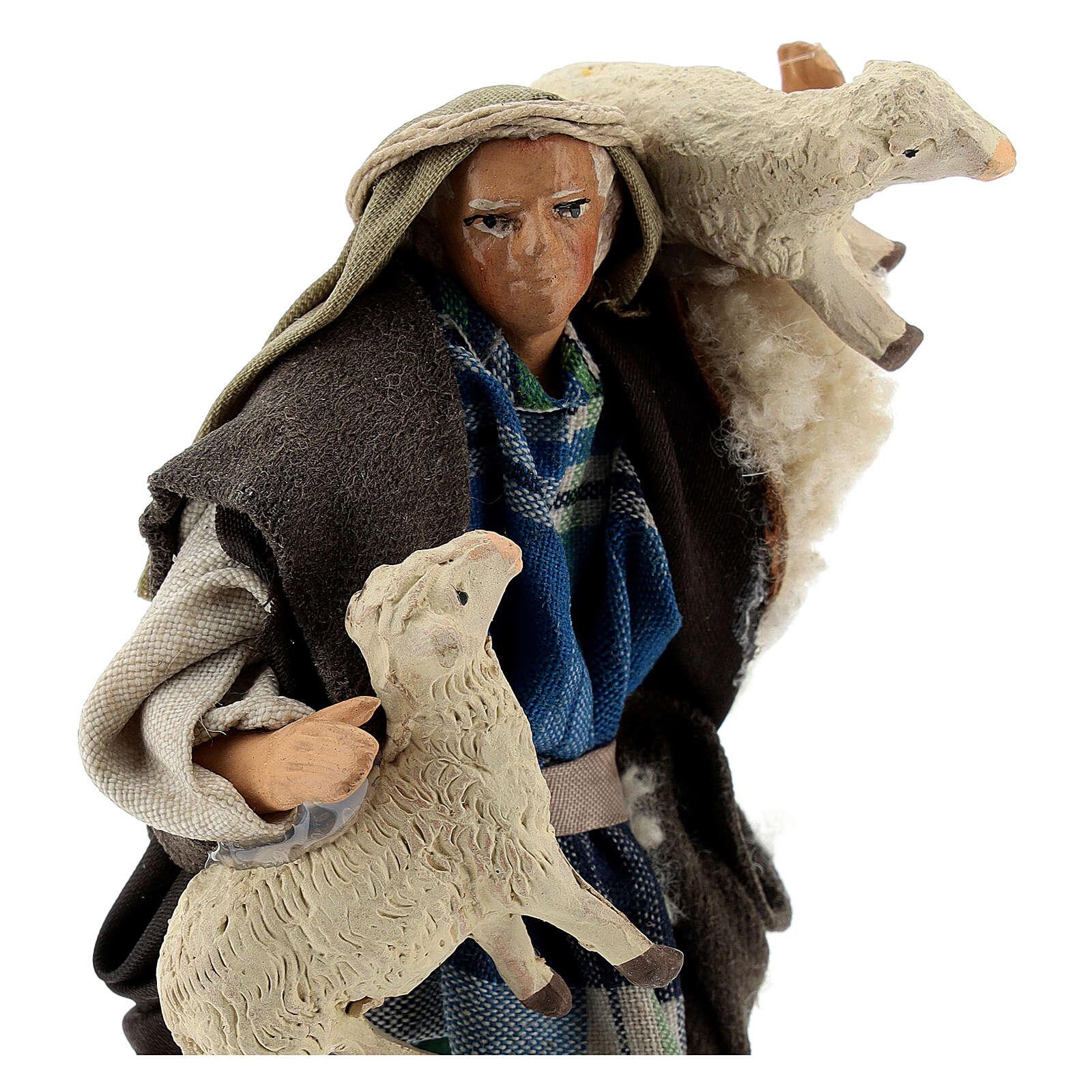 Pastore pecore in braccio 12 cm terracotta presepe napoletano 4