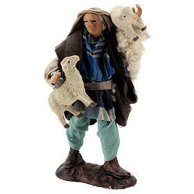 Pastore pecore in braccio 12 cm terracotta presepe napoletano s3