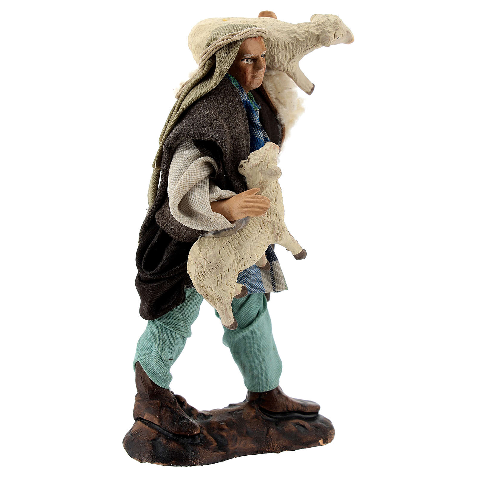 Shepherd with sheep in arms terracotta, 12 cm Neapolitan nativity 4