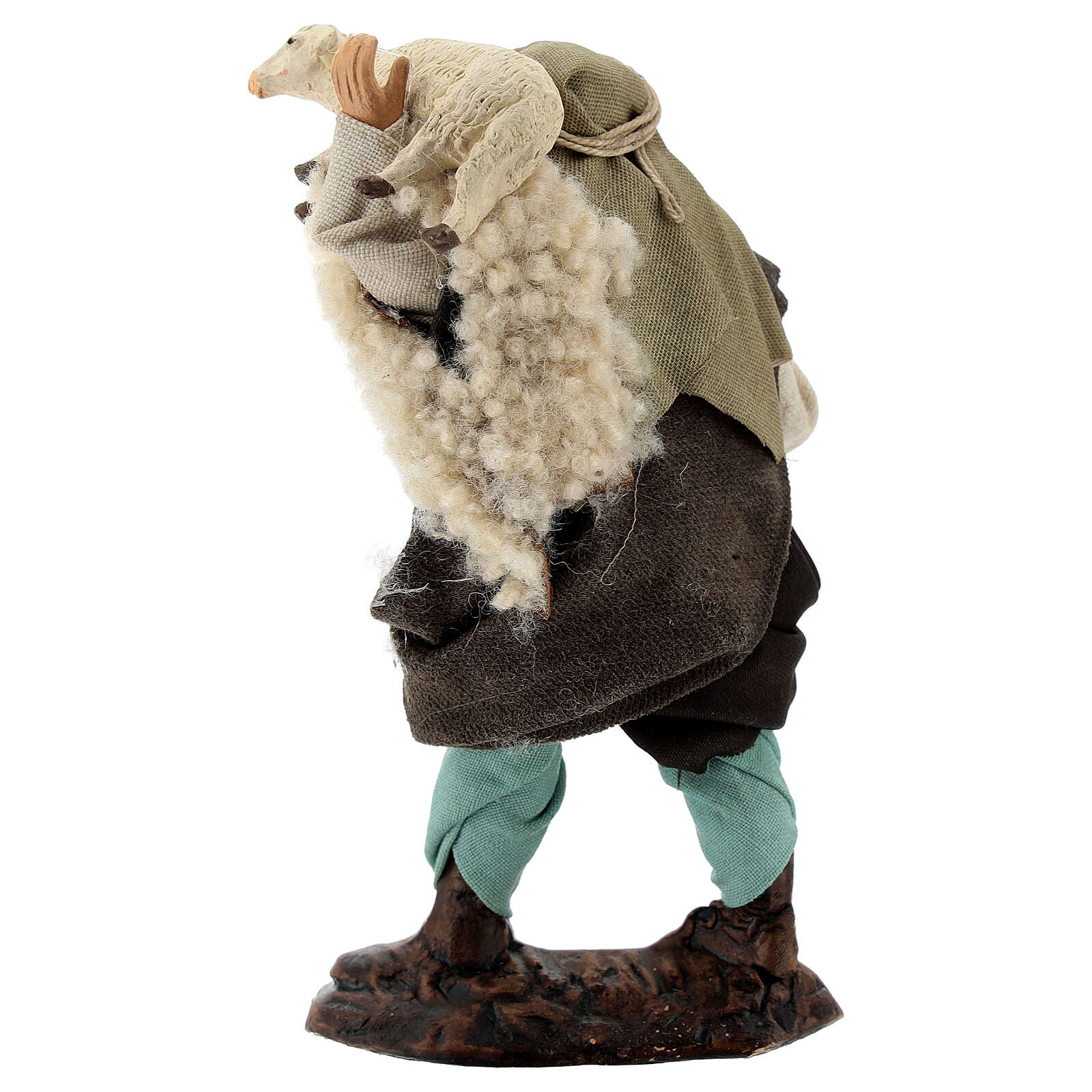 Shepherd with sheep in arms terracotta, 12 cm Neapolitan nativity 4