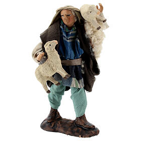 Shepherd with sheep in arms terracotta, 12 cm Neapolitan nativity s3