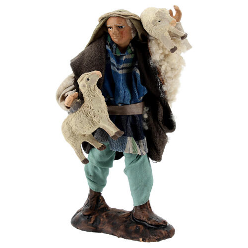 Shepherd with sheep in arms terracotta, 12 cm Neapolitan nativity 3