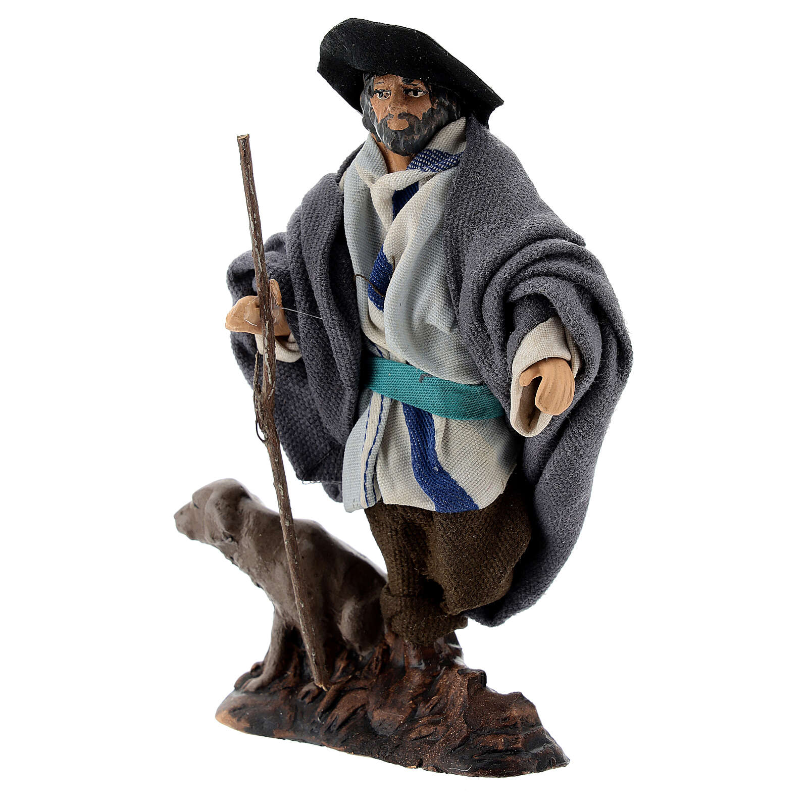 Limping man with dog in terracotta, 12 cm Neapolitan nativity 4