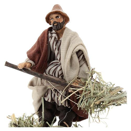 Farmer with pitchfork 12 cm Neapolitan nativity figurine 2