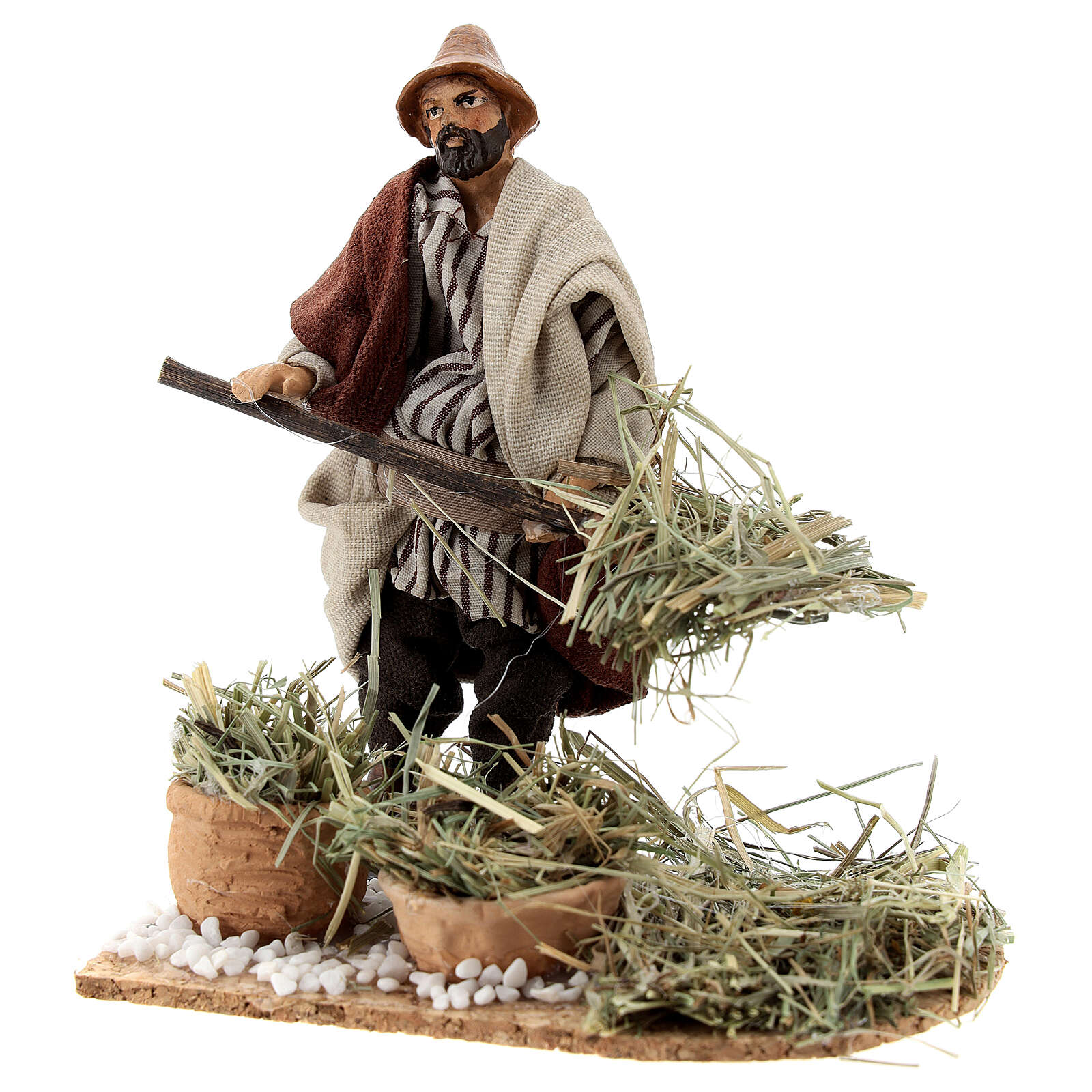 Farmer with pitchfork terracotta, 12 cm Neapolitan nativity 4
