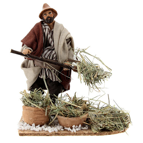 Farmer with pitchfork terracotta, 12 cm Neapolitan nativity 1