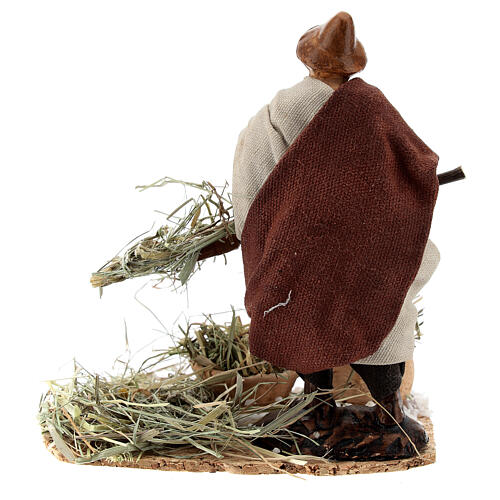 Farmer with pitchfork terracotta, 12 cm Neapolitan nativity 5