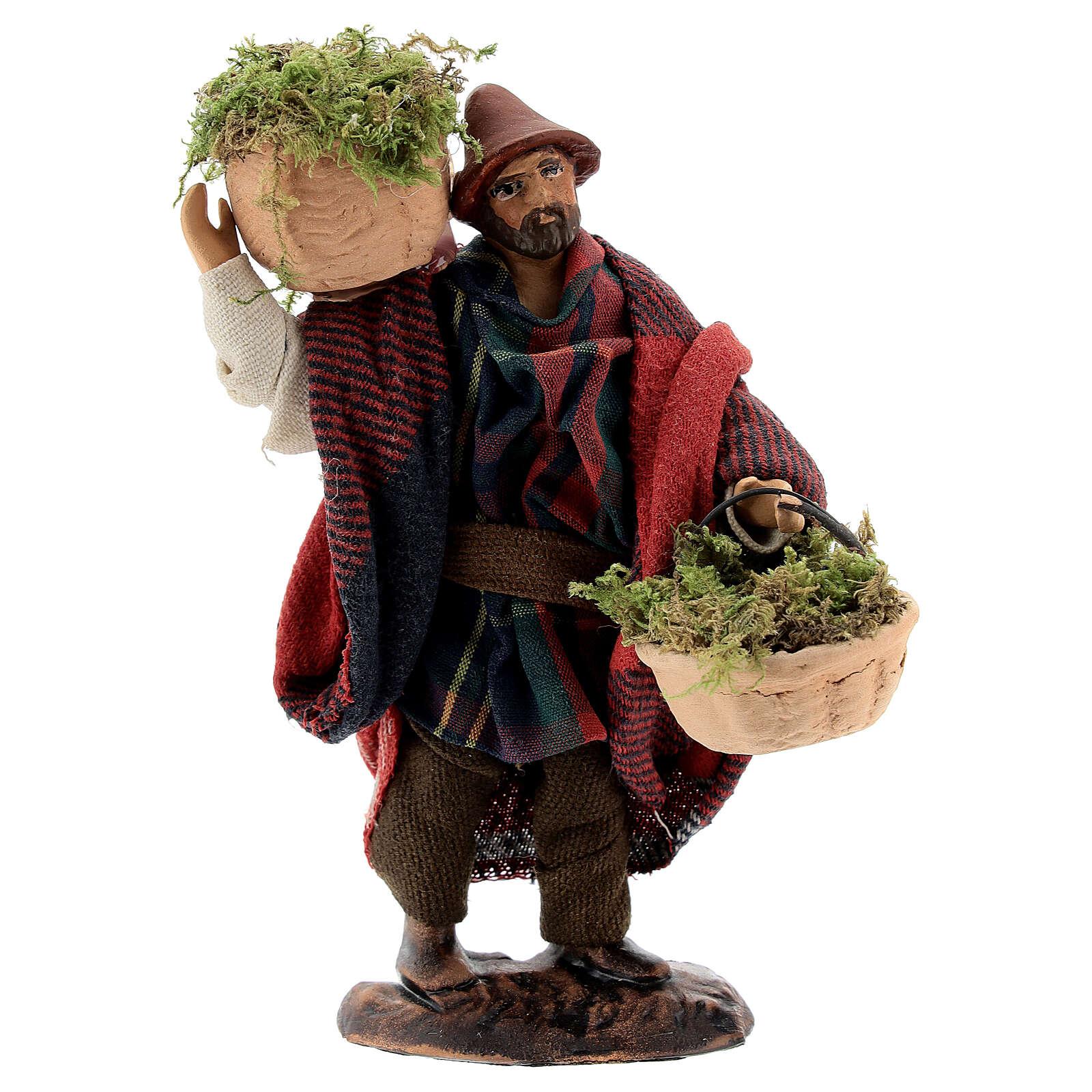 Shepherd carrying moss baskets12 cm Neapolitan nativity figurine 4