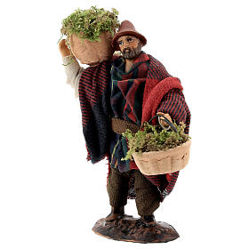 Shepherd carrying moss baskets12 cm Neapolitan nativity figurine s3