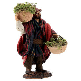 Shepherd carrying moss baskets12 cm Neapolitan nativity figurine s4